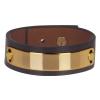 Bracelet cuir femme noir plaque dorée  - Manchette Cuir