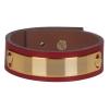 Bracelet cuir femme rouge plaque dorée  - Manchette Cuir