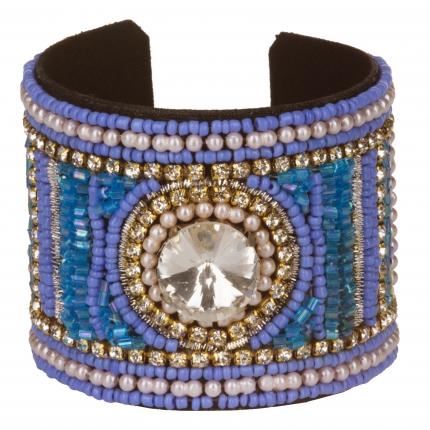 Bracelet manchette femme strass et perle bleue - Bracelet Perle