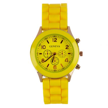 Montre silicone jaune dorée