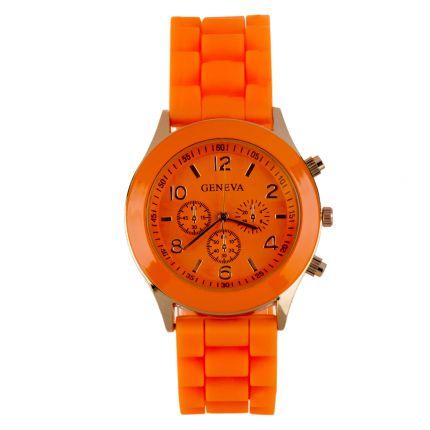 Montre silicone orange dorée