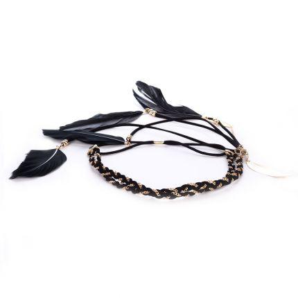Headband tresse noir et doré plumes - Headband Plume
