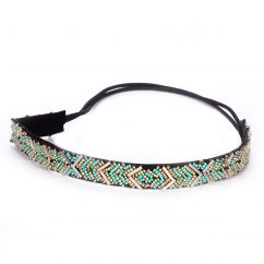 Headband ethnique perle vert d'eau - Headband Perle