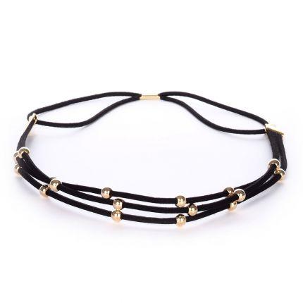 Headband suédine noir perle dorée - Headband Doré