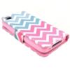 Etui portefeuille Iphone 4 / 4S Chevrons roses et bleus