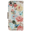 Etui portefeuille Iphone 5C Blanc imprimé Fleurs