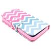 Etui portefeuille Iphone 6 Plus Chevrons roses et bleus