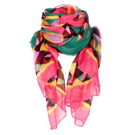 Foulard imprimé géométrique vert et rose