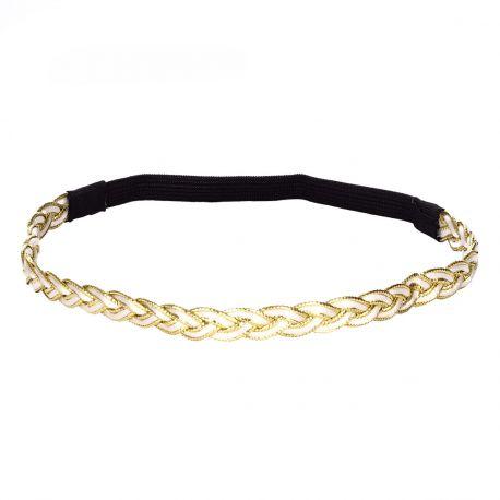 Headband tressé blanc et doré - Headband Doré