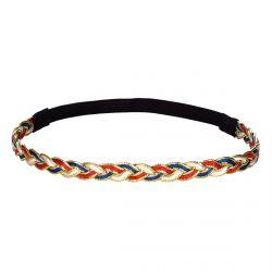 Headband tressé rouge bleu doré - Headband femme