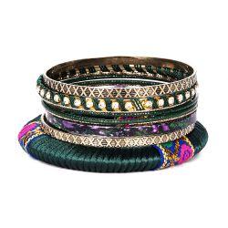 Bracelet fantaisie ethnique vert - Lot de Bracelets