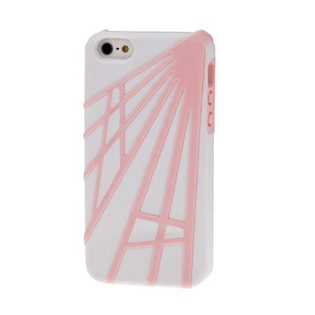 coque iphone 5 5s se geometrique blanche et rose