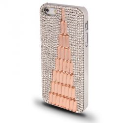Coque Iphone 5 / 5S strass or rose