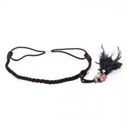 Headband tresse plume noir - Headband Plume