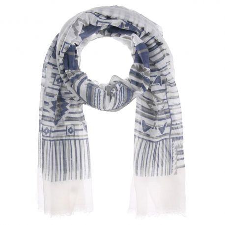 Foulard Femme Ethnique Bleu marine Blanc et Gris