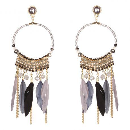 Boucle d'oreille fantaisie créole perle et plume grise