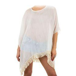 Tunique de plage blanche à frange - Tunique Femme