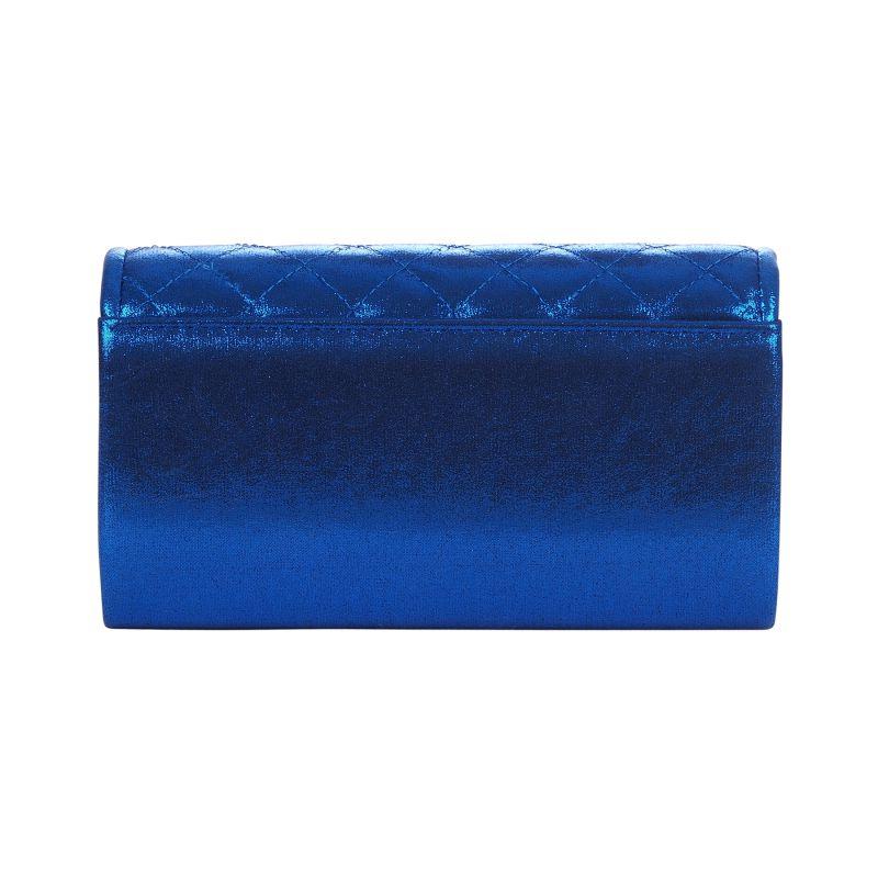 b03beef481 Pochette soirée bleu roi métallisée rabat matelassé - Sac de soirée -  Mariage