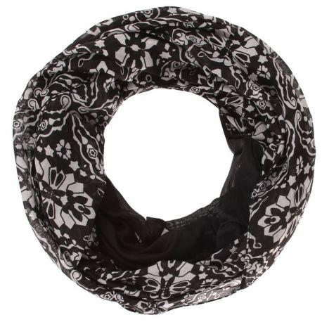 Echarpe tube femme rosace noir et blanc