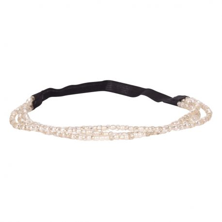 Headband 3 rangs perle blanche - Headband Perle