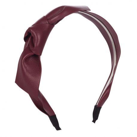 Serre tête noeud simili cuir prune - Serre-tête Femme