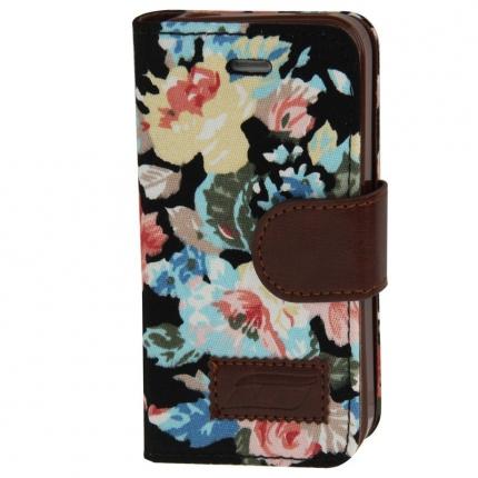 Etui portefeuille Iphone 4 / 4S Noir imprimé Fleurs