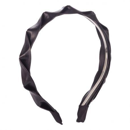 Serre tête tressé simili cuir noir - Serre-tête Noir