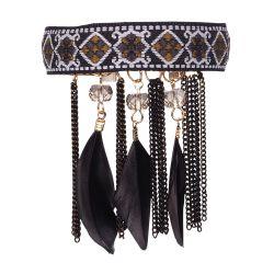 Bracelet ethnique noir pampille plume  - Bracelet Noir