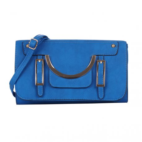 Petit sac bandoulière boucles bleu