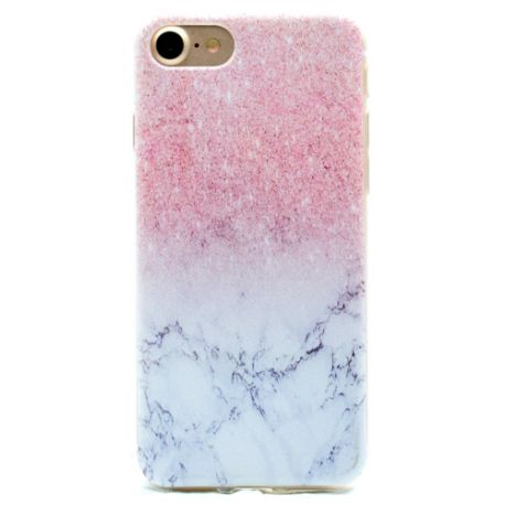 Coque Iphone 7 silicone marbré rose et blanc