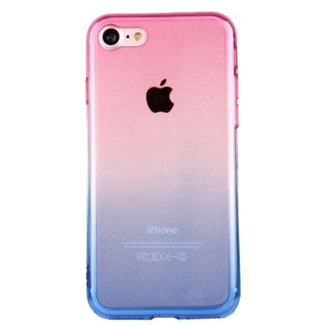 Coque Iphone 7 silicone transparente dégradé rose et bleu