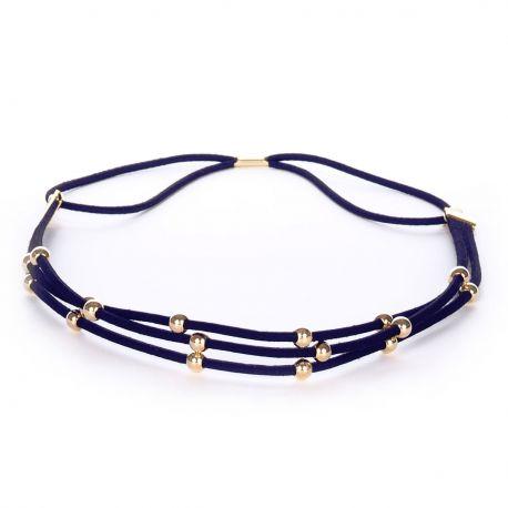 Headband suédine perles dorées bleu marine - Headband Doré