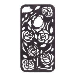 Coque Iphone 4/4S Noire sculptures fleurs