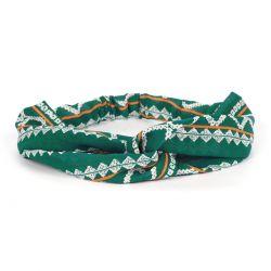 Bandeau cheveux turban vert motif ethnique