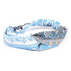 Bandeau Turban Fleurs Bleu ciel - Bandeau Noué