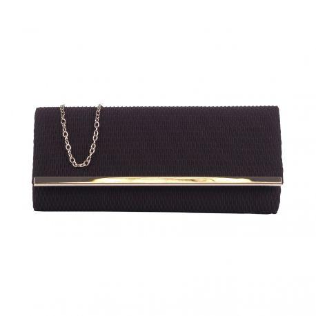 Pochette Soirée Noire Tissu Gaufré - Pochette Noire