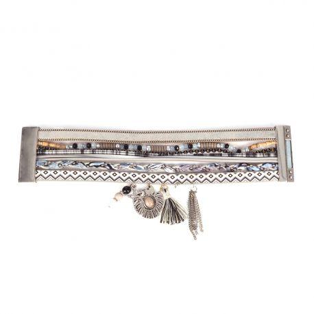 Bracelet Manchette Aimanté Multirangs Gris - Bracelet Femme