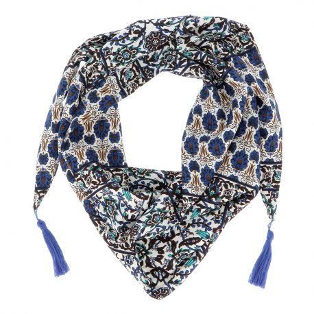 Bandana Fleurs Bleues Pompons - Foulard Femme