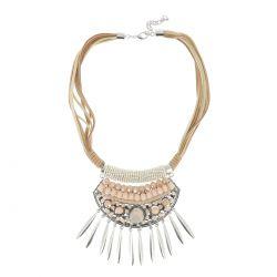 Collier Plastron Argenté - Collier Court - Collier Perles Nude