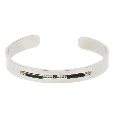 Bracelet Jonc Argenté Perles Noires - Bracelet Argenté