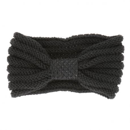 Bandeau Turban Tricot Noir - Bandeau Hiver