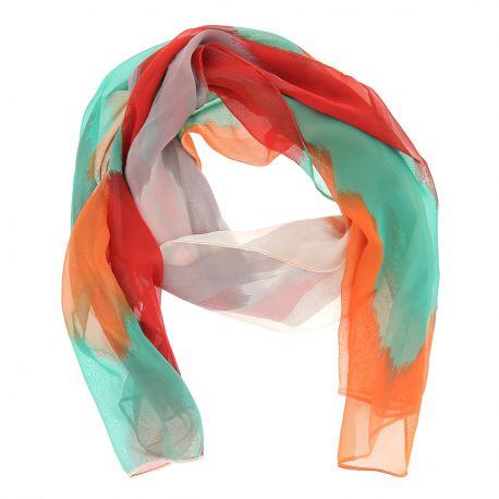 Etole Voile Rouge Orange et Vert - Foulard Femme