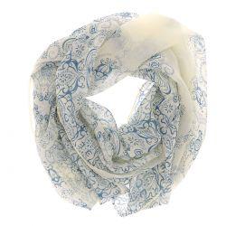 Foulard Voile Jaune pale et Bleu Imprimé - Foulard Femme