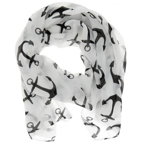 Foulard Voile Blanc et Noir Encre - Echarpe femme