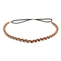 Headband doré suédine marron - Bandeau Elastique