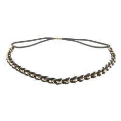 Headband doré suédine noir - Bandeau Cheveux