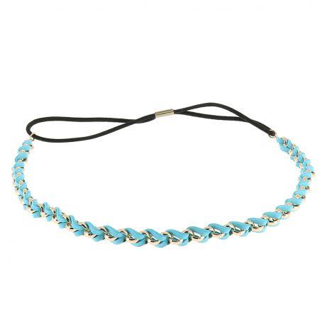 Headband doré suédine bleu - Bandeau Elastique