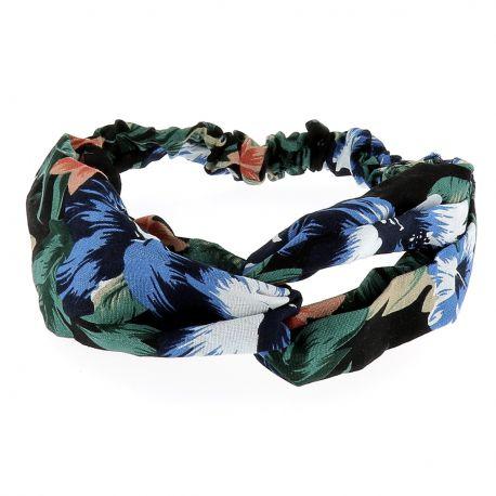 Bandeau Turban Fleurs Bleu et Corail - Bandeau Torsadé