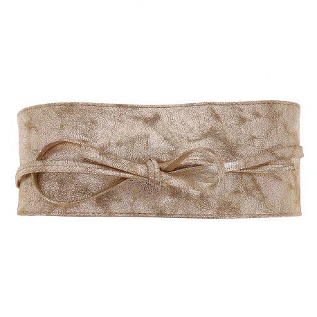 Ceinture Obi à Nouer Bronze Irisé