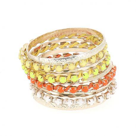 Bracelet Bangles Jaune et Orange - Bracelet Multirang